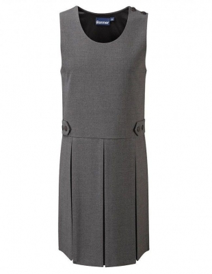 TENBY DOUBLE BOX PLEAT PINAFORE - GREY