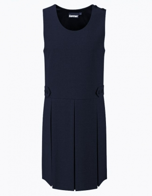 TENBY DOUBLE BOX PLEAT PINAFORE - NAVY