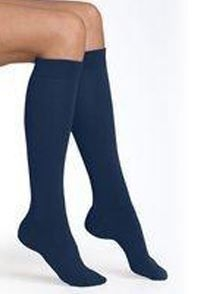 NAVY KNEE LENGTH ROLL TOP SOCKS