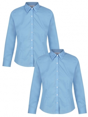 GIRLS LONG SLEEVE FITTED BLOUSE - TWIN PACK - SKY