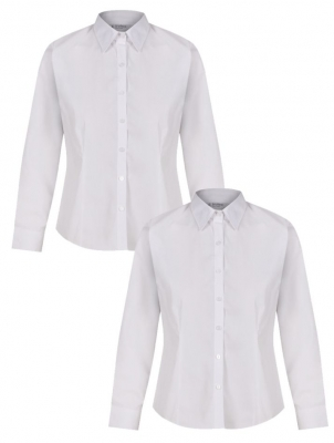 GIRLS LONG SLEEVE FITTED BLOUSE - TWIN PACK- WHITE