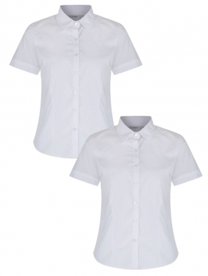 GIRLS SHORT SLEEVE FITTED BLOUSE - TWIN PACK - WHITE