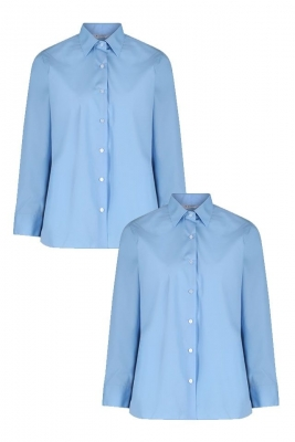 NON IRON LONG SLEEVE POLYCOTTON GIRLS BLOUSE - TWIN PACK - SKY