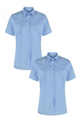NON IRON SHORT SLEEVE POLYCOTTON BLOUSE - TWIN PACK - SKY