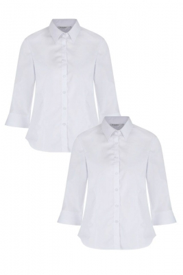 FITTED NON IRON BLOUSE WITH 3/4 SLEEVE - TWIN PACK - WHITE