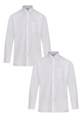 BOYS SLIM FIT LONG SLEEVE NON IRON SHIRTS - TWIN PACK - WHITE