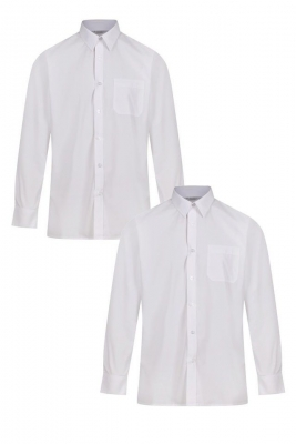 BOYS SLIM FIT LONG SLEEVE NON IRON SHIRTS - TWIN PACK