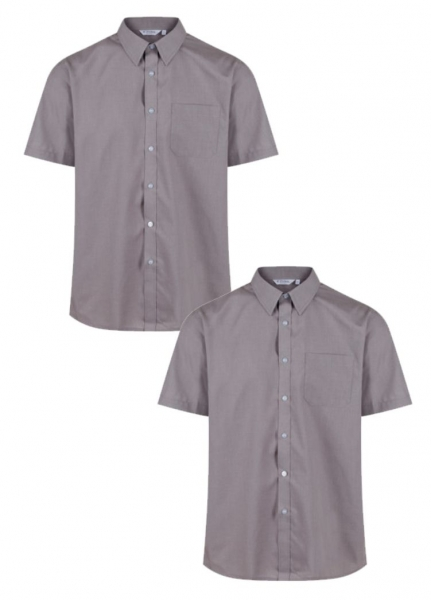 BOYS SHORT SLEEVE NON IRON SHIRT - TWIN PACK