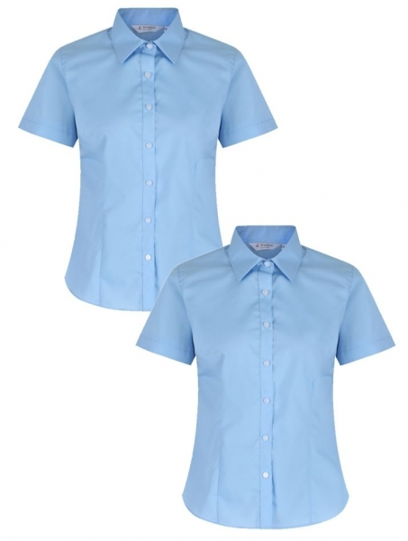GIRLS SHORT SLEEVE FITTED BLOUSE - TWIN PACK - SKY