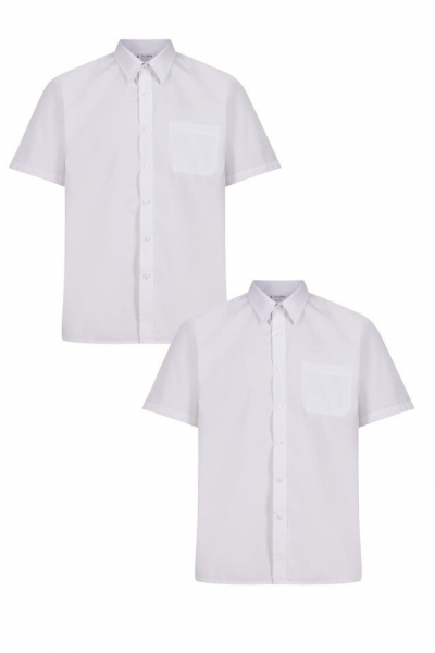 BOYS SLIM FIT SHORT SLEEVE NON IRON SHIRTS - TWIN PACK