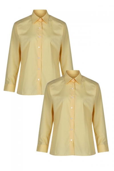 NON IRON LONG SLEEVE POLYCOTTON GIRLS BLOUSE - TWIN PACK - GOLD