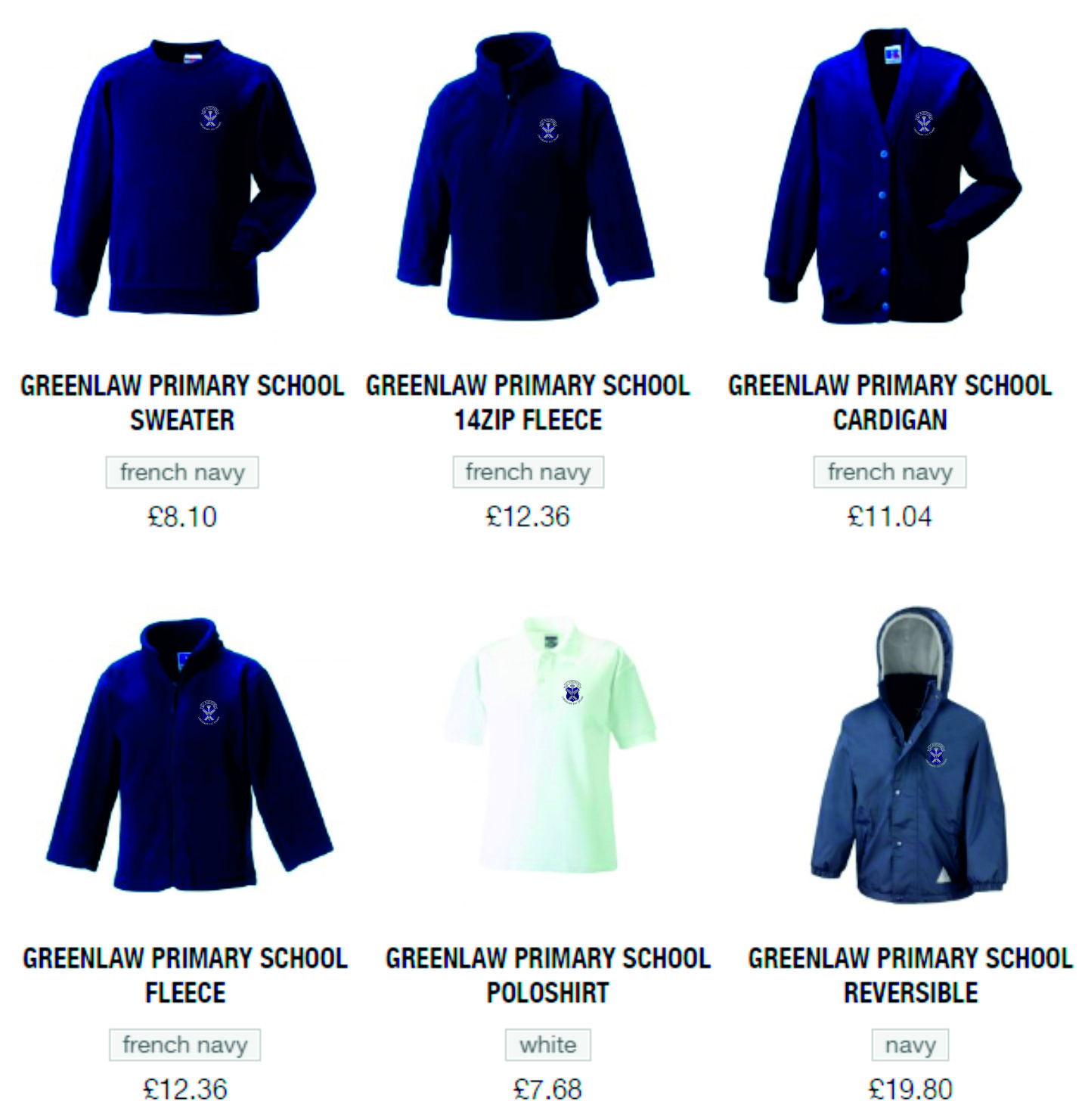 BE Schoolwear List